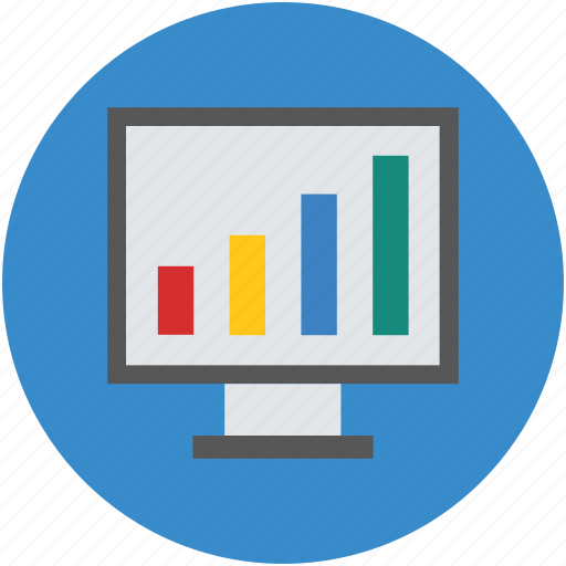 bar chart, digital, finance, graph, monitor, presentation, screen icon