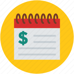 business, dollar sign, economy, finance, notepad, rates icon