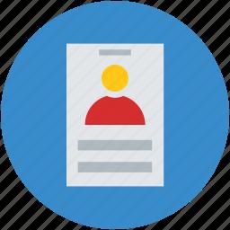 curriculum vitae, cv, experience, personal, profile, resume icon