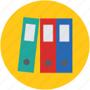collection, file, folder, pile, row, shelf