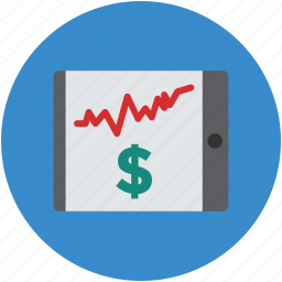 business, concept, dollar, increasing, profit, screen, tablet icon