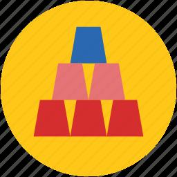 bars, bricks, gold, golden, pyramid, stacked icon