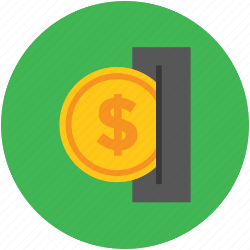 bank, coin, dollar, insert, inserting, pay, savings, slot, token icon