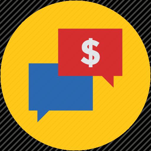 chat, communication, dollar, money, speech, talking, thinking icon