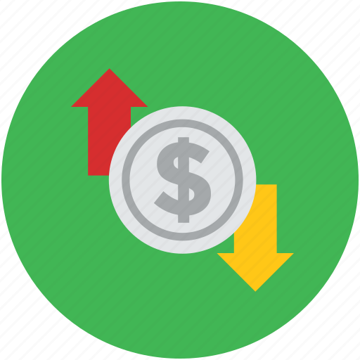 arrows, concept, currency, dollar, down, falling, market, raising, rate, sign, up icon
