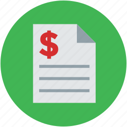 bill, billing, document, dollar, form, invoice, pay, tax icon