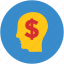 brain, creativity, dollar, human head, idea, imagination, money icon