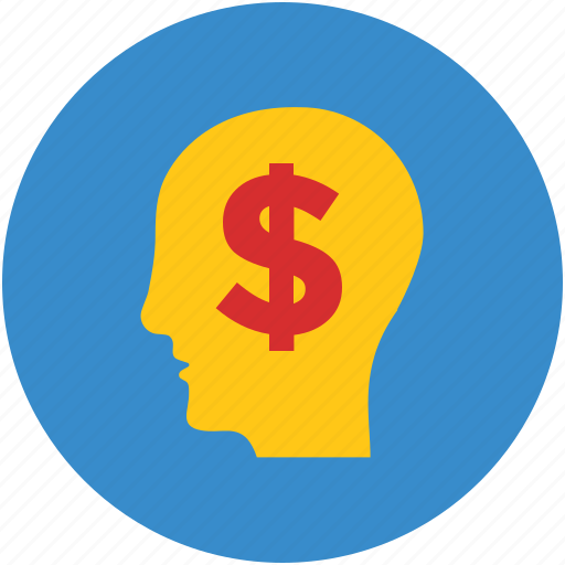 brain, creativity, dollar, human head, idea, imagination, money icon