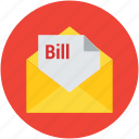 bill, billing letter, envelope, invoice, letter, mail icon