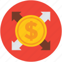 arrows, business, coin, concept, dollar, finance icon