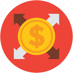arrows, business, coin, concept, dollar, finance icon