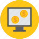 banking, business, coins, display, gold, investment, monitor icon