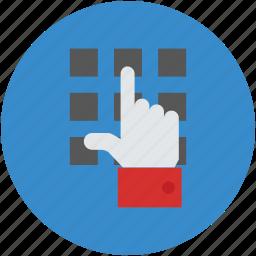 atm, enter, enter code, finger, keypad, number, pin icon