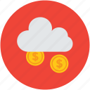 cloud, earning, fortune, gold coins, money, raining, success, wealth icon