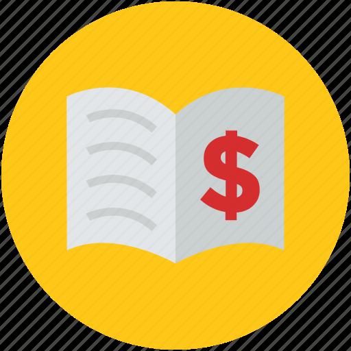 concept, dollar, encyclopedia, finance, loan, magazine, open book, textbook icon