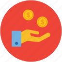 coins, dollars, finance, hand, human, money, saving, take icon