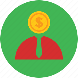 businessman, businessperson, concept, dollar, face, investor icon