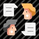 businessman, community, conversation, discussion, people, speak, talk icon