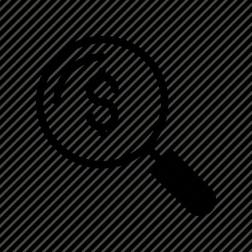 audit, cash, dollar, find, magnifier icon