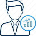 graph, growth, man icon