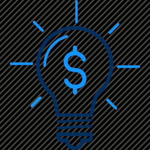 bulb, business, dollar, finance, money icon