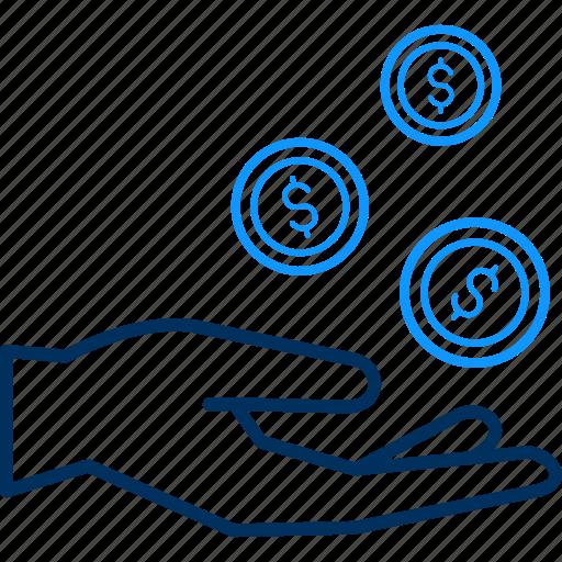 back, cash, dollar, hand, money icon