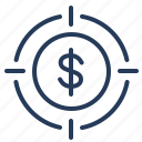 business, dollar, finance, goal, target icon
