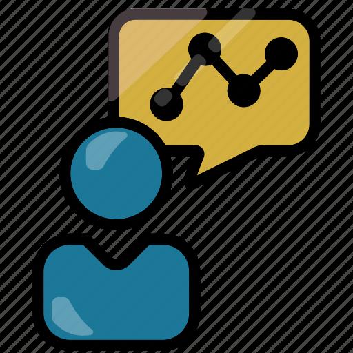 analytics, businessman, chart, graph, statistics icon