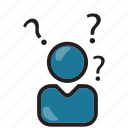 businessman, help, info, question icon