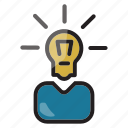brainstoming, business, businessman, creativity, idea, innovation icon icon