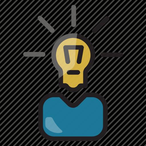brainstoming, business, businessman, creativity, idea, innovation icon icon