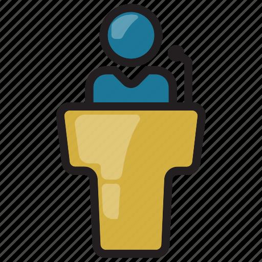 businessman, conferance, leader, lecture, meeting, presentation, talk icon