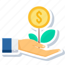 ecology, growth, launch, money, payment, plant, project icon