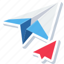 email, mail, message, paper, plane, post, send icon
