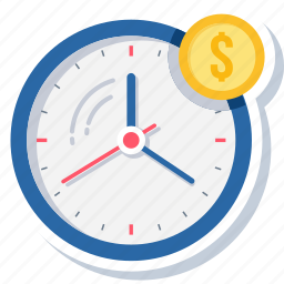 business, clock, dollar, money, rate, time, wall clock icon