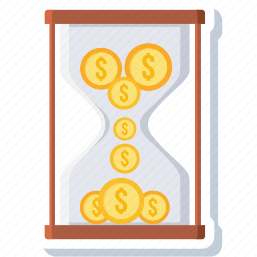 bank, budget, hourglass, money, revenue, sandglass, target icon