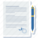 agreement, contract, deal, document, paper, sign, signature icon