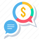 finance, message, money, revenue, salary, talk icon