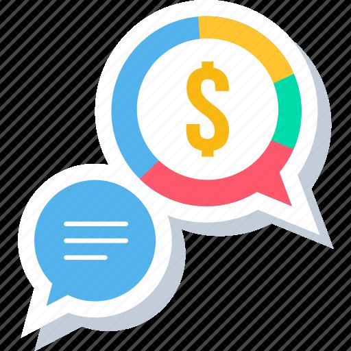 finance, message, money, revenue, salary, talk icon