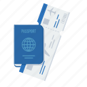 id, identification, identity, itinerary, passport, ticket, visa icon