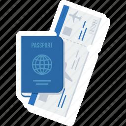 id, identification, identity, itinerary, passport, ticket, visa icon
