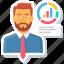 analysis, customer, diagram, manager, report, statistics, user icon