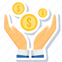 cash, coin, dollar, gesture, hand, hands, money icon