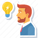 avatar, creative, employee, idea, lightbulb, manage, management icon
