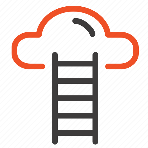 cloud, interface, stair, user icon