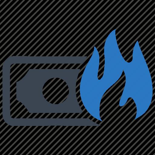 burning, inflation, money icon