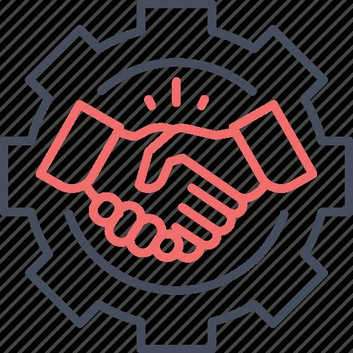 associate, business, deal, gear, handshake, partner icon