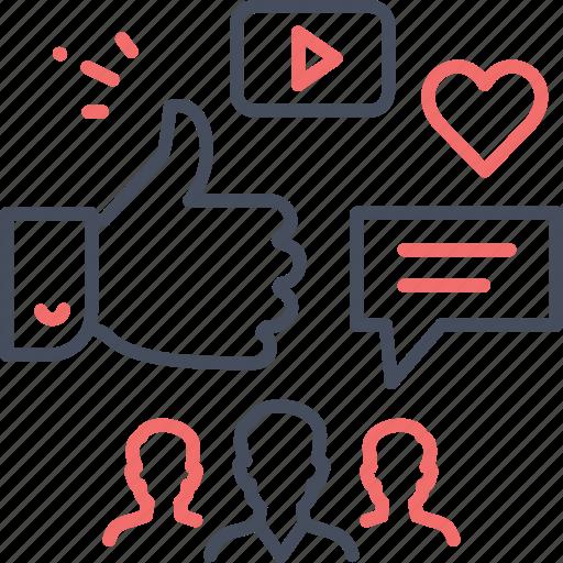 marketing, media, online, people, social, social marketing icon