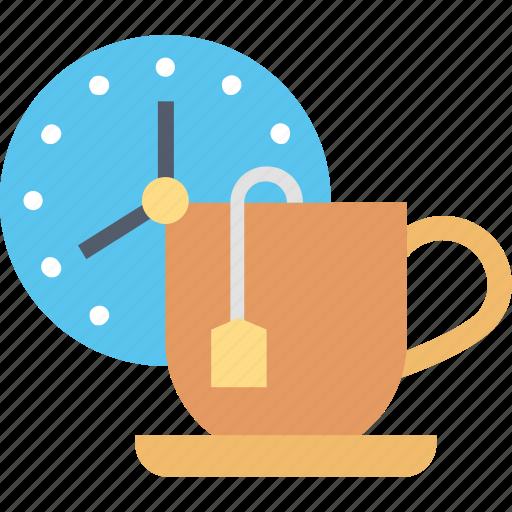 break, clock, cup, schedule, tea, time icon