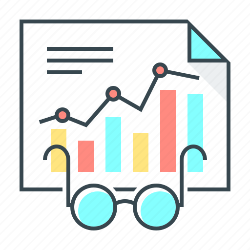 analysis, analytics, chart, content management, diagram, glasses, statistics icon